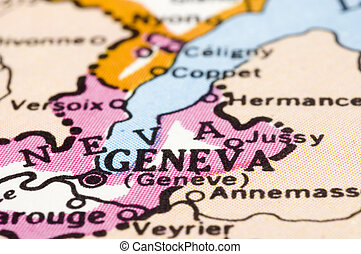 close up of Geneva on map, Switzerland - Close up of Geneva...