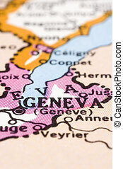 close up of Geneva on map, Switzerland
