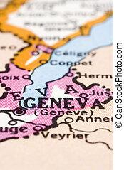 close up of Geneva on map, Switzerland - Close up of Geneva...
