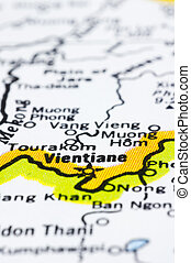 close up of vientiane on map, Laos