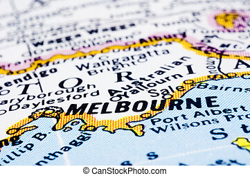 close up of melbourne on map, Australia - a close up shot of...