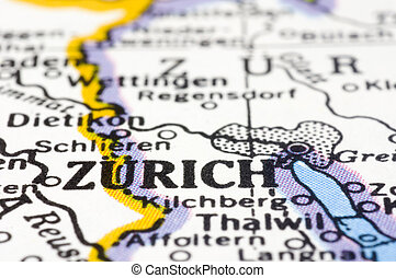 close up of Zurich on map, Switzerland - Close up of Zurich...