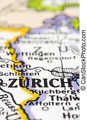 close up of Zurich on map, Switzerland - Close up of Zurich...