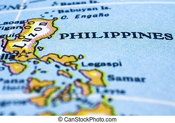 close up of philippines on map - Philippines marker on map,...