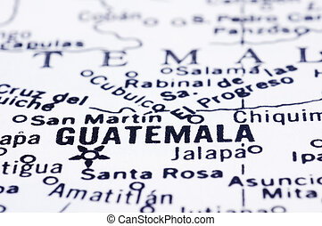 close up of Guatemala on map - a close up shot of Guatemala...