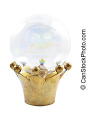 Looking for answers - Golden crown with crystal magic ball...