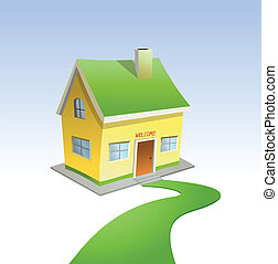 Green road to house Vector illustration