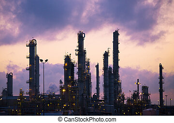 Oil Refinery at Dawn - Exhaust pipes from the Imperial Oil...