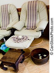 Foot massage chair in spa room - Foot massage chair in spa...