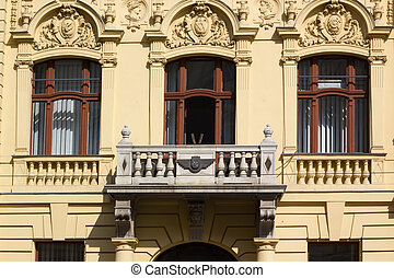 Building facade with reliefs in Zagreb, Croatia