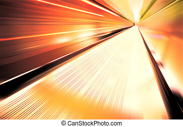 highway of tunnel - Greased light on high-speed highway of...