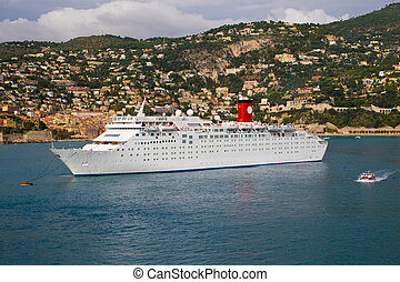 Cruise Ship Anchored - A photo of a cruise ship at anchor in...