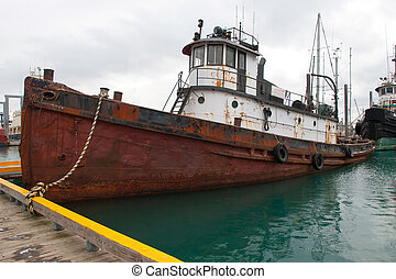 Derelict Ship Anchored - A photo of a derelict ship in the...