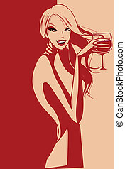 Lady - elegant vector of a lady drinking wine