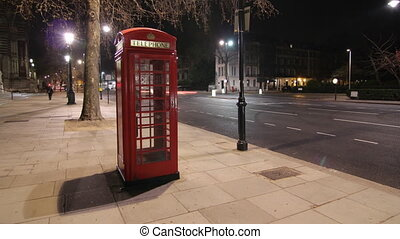 Telephone Box at night. Timelapse.