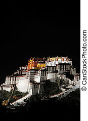 Night scenes of Potala Palace in Tibet - Night scenes of the...