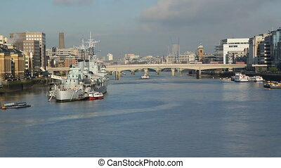 River Thames Sunny morning - River Thames with HMS Belfast...