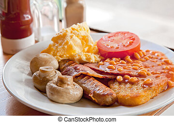 English Breakfast - Full English Breakfast on Table