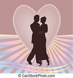 young couple heart - a young couple silhouette with rays