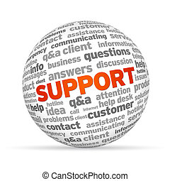 Support with words 3d Sphere on white background.