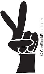 Peace Sign Silhouette - simple drawing of a hand making a...