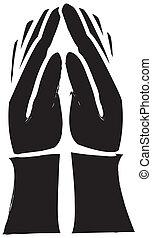 Hands Praying Silhouette - simple drawing of someone holding...