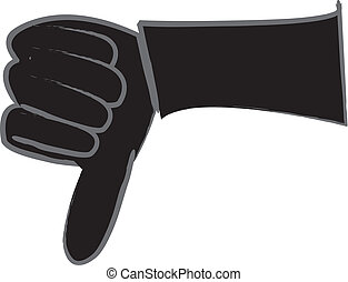 Thumbs Down Silhouette - simple cartoon silhouette drawing...