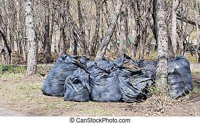 Many black garbage bags at curb