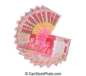 one million rupiah - ten one-hundred-thousands rupiah...
