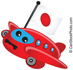 air plane with flag - illustration air plane with flag