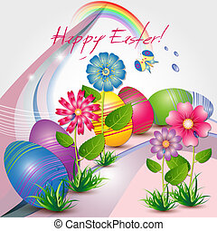 Easter card with colored eggs and flowers