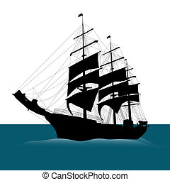 Ship silhouette  - Old sailing ship silhouette