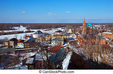 view of Gorokhovets in winter - Panoramic view of...