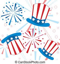 Holiday fireworks seamless pattern with american hat