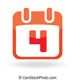 Fourth July Calendar Date - Vector icon: Independence Day -...