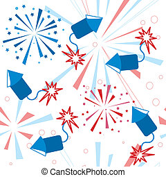 Holiday fireworks seamless pattern
