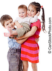 Three smiling kids together - Family - three smiling kids...