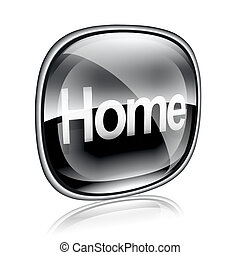 home icon black glass, isolated on white background