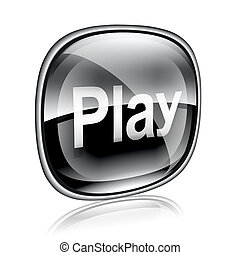Play icon black glass, isolated on white background