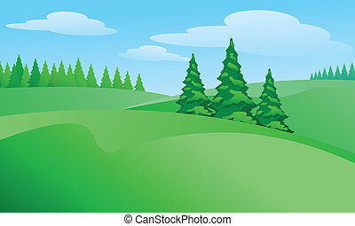 Field landscape with trees Illustration for design