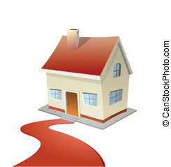 Vector illustration of house with red carpet road