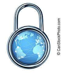 Internet, segurança, fechadura