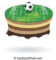 Soccer Poster with Field on the planet flying, vector...