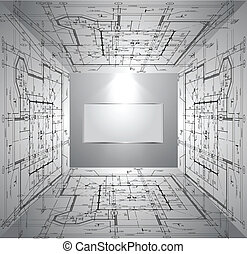 Wall with wallpaper blueprint and light. Vector