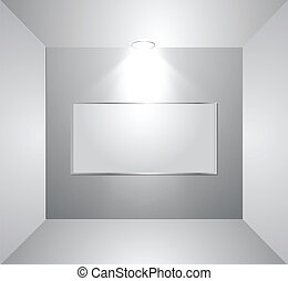 Empty gallery wall with light. Vector