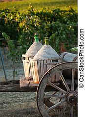 Un, carrito, cargado, vino, botellas
