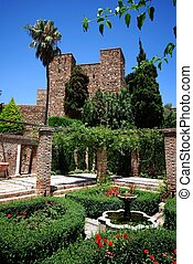 Gardens, Alcazaba de Malaga. - Patio below the Puerta de los...