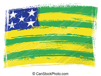 Grunge Goias flag - Brazilian state Goias flag created in...