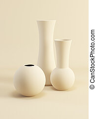 set of ceramic vases, 3d render