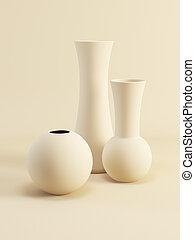 set of ceramic vases, 3d render